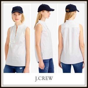 J. Crew Cream Pleated Bib Sleeveless Top Shirt